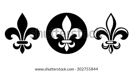 Vector set of three black silhouettes of lily flowers (fleur-de-lis) on a white background.