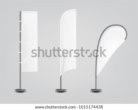 Vector set of three blank, textile banners or flags in various shapes, for brand promotion, marketing, advertisement isolated on background. Outdoor, portable pole with cloth, mockup for your design