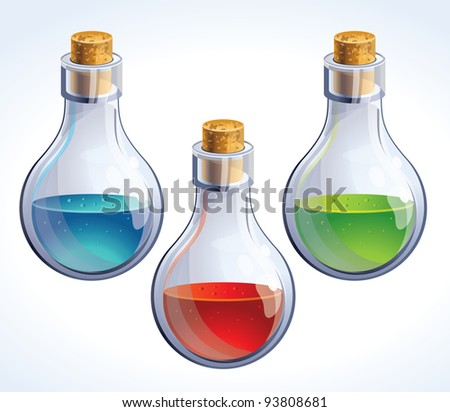 Vector set of three bottles with poison - in different colors