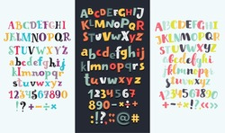 Vector set of three cartoon funny difference english Alphabets. Cute colorful vector English alphabet, vintage font, funny hand drawn typeface, numbers and sighs, ABC, Lowercase and uppercase letters