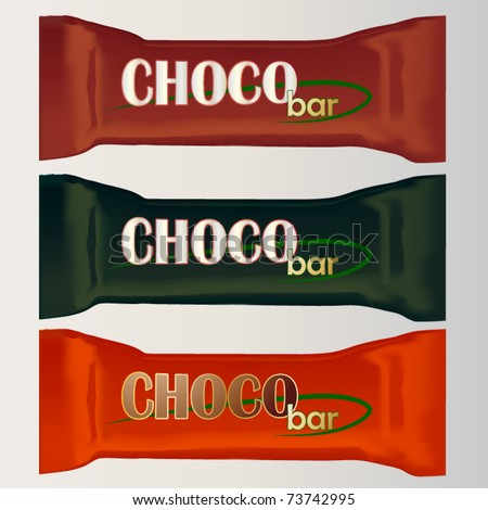 vector set of three chocolate bar packages templates
