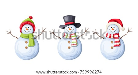 Stock Photo Vector set of three Christmas snowmen isolated on a white background.
