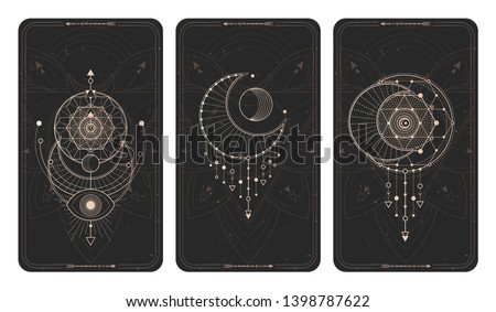 Vector set of three dark backgrounds with geometric symbols, grunge textures and frames. Sacred mystic signs drawn in lines. Illustration in black and gold colors. For y