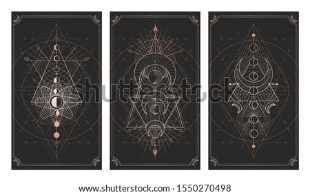Vector set of three dark backgrounds with sacred symbols, grunge textures and frames. Abstract mystic signs drawn in lines. Illustration in black and gold colors. For you design and magic craft.