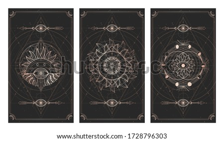 Vector set of three dark illustrations with sacred geometry symbols and frames. Images in black and gold colors.  Сток-фото ©