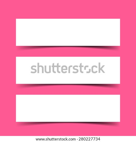 Vector set of three empty Banners with transparent vector shadows. Vector template, mock up isolated on bright red background