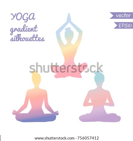 Vector set of three female silhouettes in meditating pose with tender gradient in pastel pink, blue, orange, purple and violet colors. Woman in yoga lotus pose - Padmasana.  #756057412