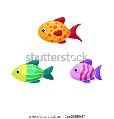 vector set of three fish of