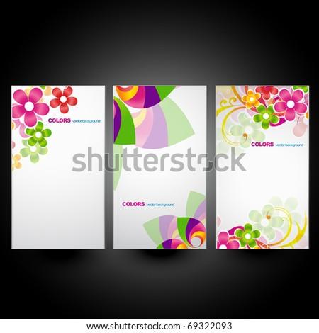 vector set of three flower banner