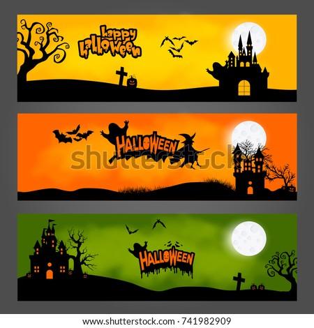 vector set of three halloween