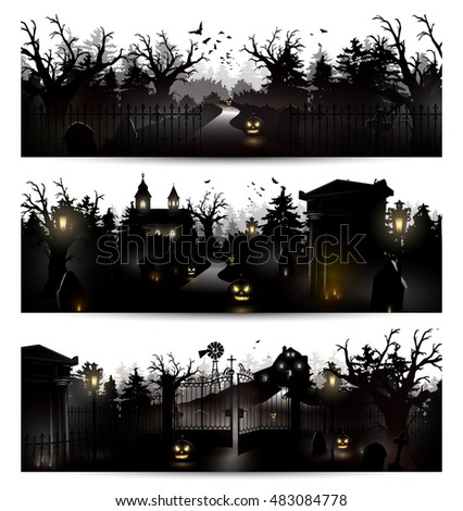 vector set of three halloween
