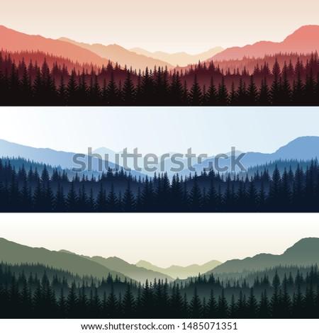 vector set of three panoramic