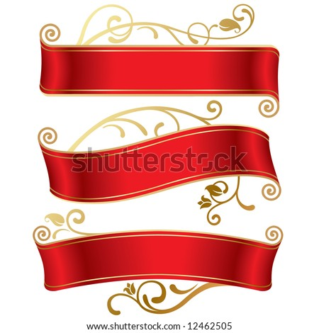 Vector set of three red banners