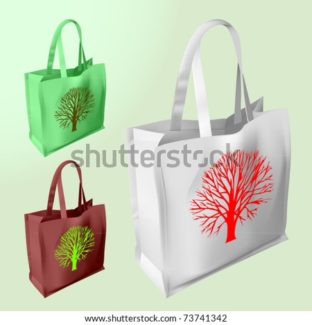 vector set of three reusable bags with a tree silhouette