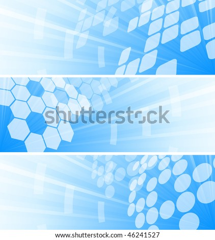 Vector set of three tech banners; clip-art