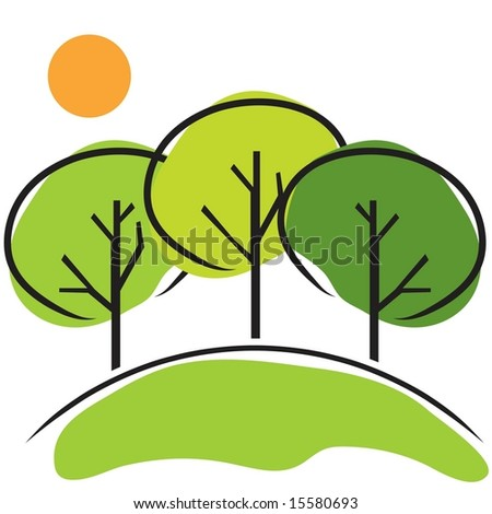 Vector set of three trees on hill