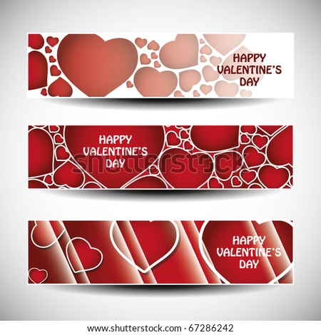 Vector set of three valentine s day header designs stock vector
