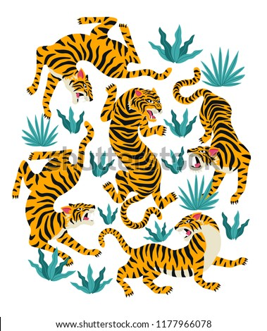 vector set of tigers and