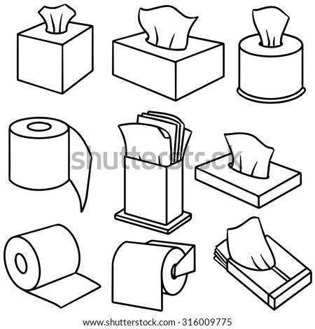 Vector set of tissue paper 316009775 shutterstock for Black and white bathroom paper