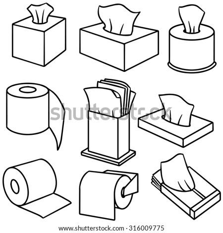 Vector set of tissue paper 316009775 shutterstock for Black and white bathroom paper