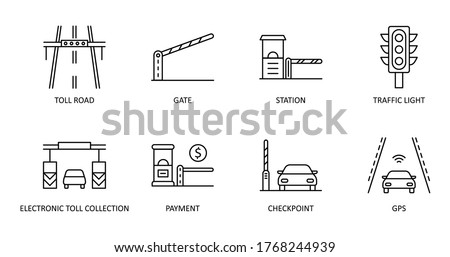 Vector set of toll road icons. Editable Stroke. Highway icon includes station gate traffic light. Electronic toll collection, gps payment checkpoint for web design and applications