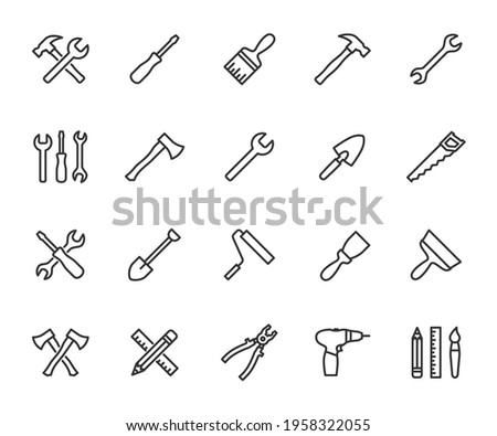 Vector set of tools line icons. Contains icons hammer, wrench, screwdriver, axe, paint brush, putty knife, drill, pliers and more. Pixel perfect. Foto stock ©