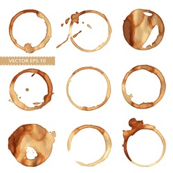 Vector set of traces of a coffee cup. Splashes and traces of coffee cup. Circles and rings on white background. Vector collection of coffee cup for menu, restaurant, cafe, bar, coffeehouse.