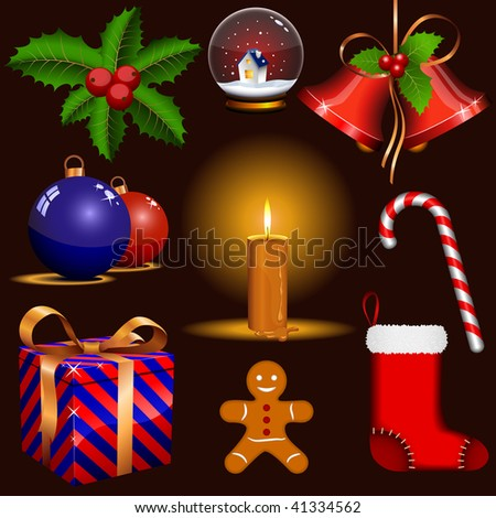 Vector set of traditional Christmas symbols isolated on dark background. Improved version.
