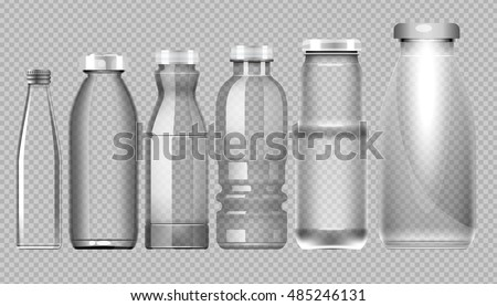 vector set of transparent glass