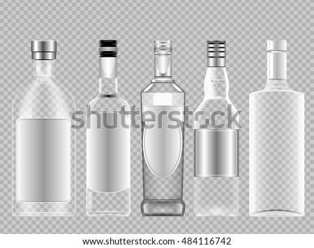vector set of transparent glass