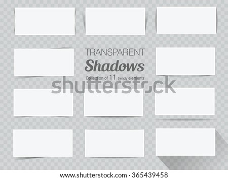 Vector set of transparent realistic shadows for your design