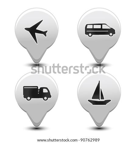 Vector set of transport pointers - car, ship, plane