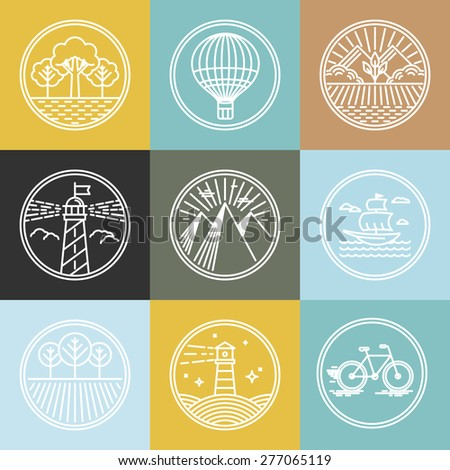 vector set of travel badges in