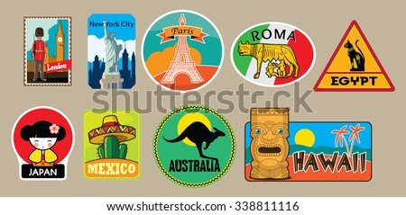 Vector set of travel stickers #338811116