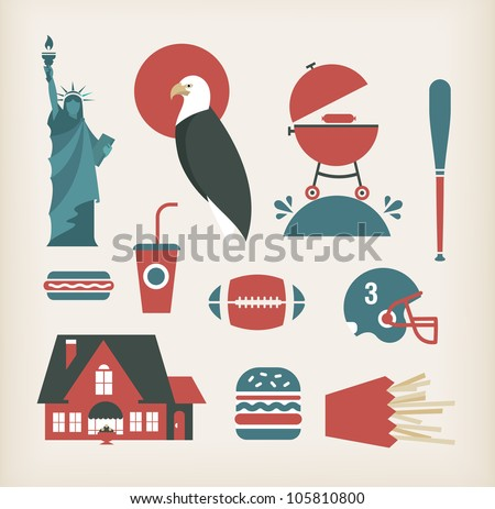 Vector set of travelling icons for America (USA)