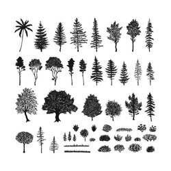 Vector set of trees, grass and bushes. Hand drawn sketch isolated on a white background