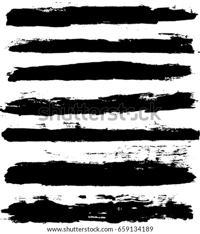 Vector set of trendy black brush strokes or backgrounds. Artistic lines grunge collection. Set of black grungy hand painted brush strokes isolated on white. Abstract ink texture, design elements. #659134189