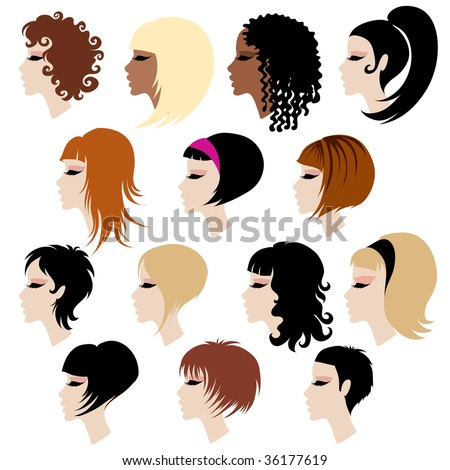 "Vector set of trendy hair styling for woman (from my big ""Hair styling series"")"