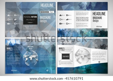 tri fold brochure design template in modern geometric style