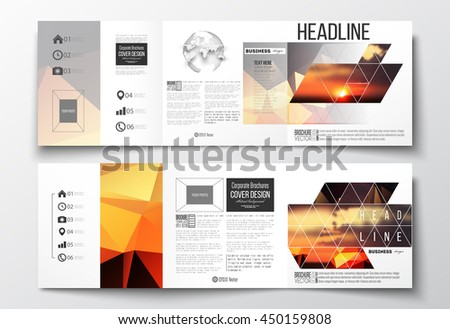 vector set of tri fold