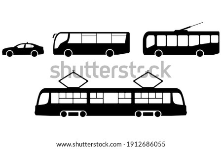 Vector set of trolleybus, bus, tram, taxi icons. Vector city transport icon in flat style. City transport icon in black. Public transport icon. Vector illustration.