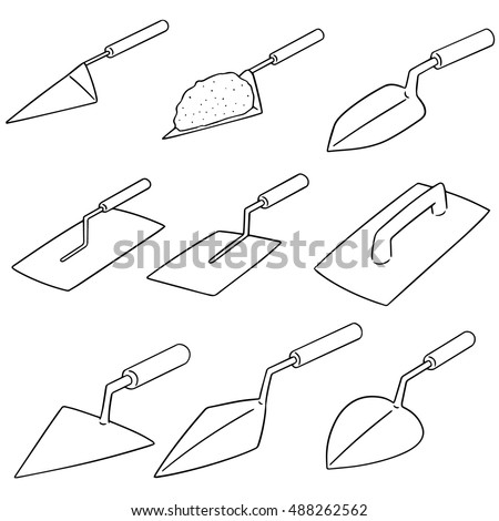 vector set of trowel