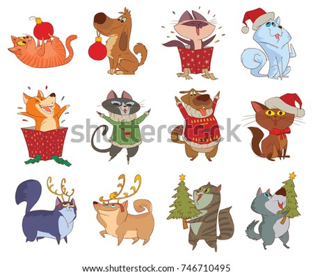 vector set of twelve cartoon