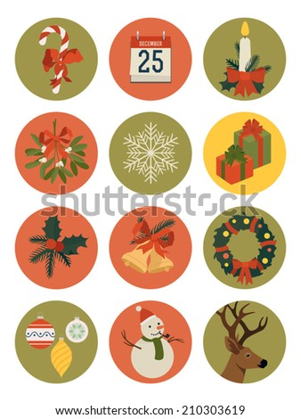 vector set of twelve christmas