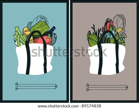 vector set of two cards with hand drawn shopping  bags