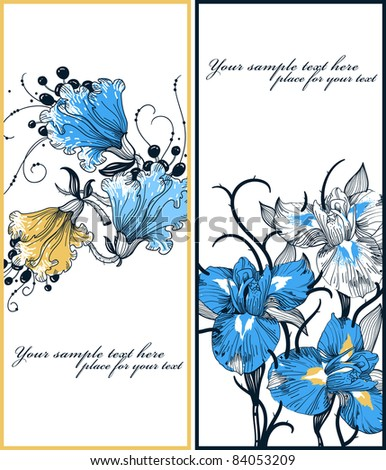 vector set of two floral cards with blooming irises and fantasy flowers