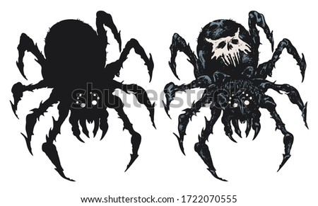 vector set of two spiders close