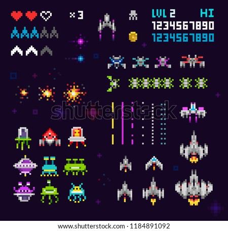 Vector set of Ufo invaders, space ships, rockets, funny monsters and robots. Retro video game 8 bit pixel elements collection. Retro pixelated 8 bit arcade computer game template vector illustration