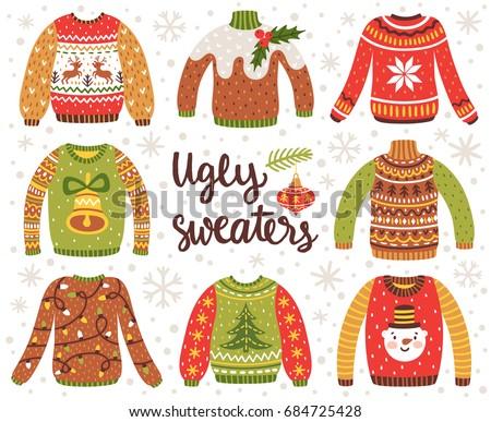vector set of ugly christmas...