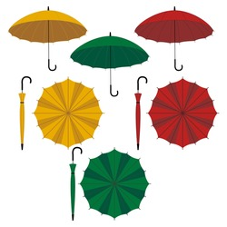 Vector set of umbrellas. Different type of umbrellas: open and closed cane. Flat vector yellow, green and red ambrella illustrationon on white background